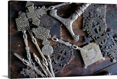 Metal objects in the blacksmith's workshop, Axoum (Axum), Tigre region, Ethiopia, Africa
