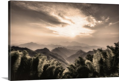 Misty Mountains With Bamboo Forest In A Secluded Region Of Zhejiang, China