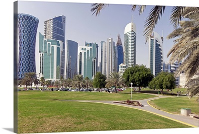 Modern skyline of the West Bay central financial district, Doha, Qatar, Middle East