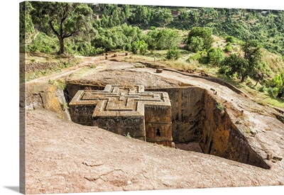 Monolithic rock-cut Church of Bete Giyorgis (St. George), Lalibela, Ethiopia, Africa