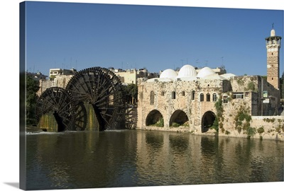 Mosque and water wheels on the Orontes River, Hama, Syria
