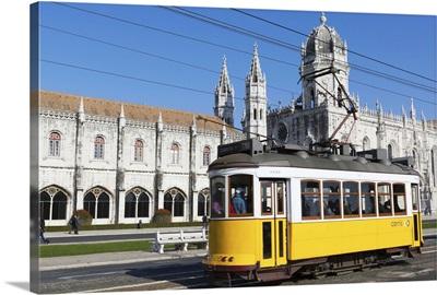 Mosteiro dos Jeronimos, and tram (electricos), Belem, Lisbon, Portugal