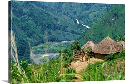 Native huts in a valley near Uriva, Zaire, Africa