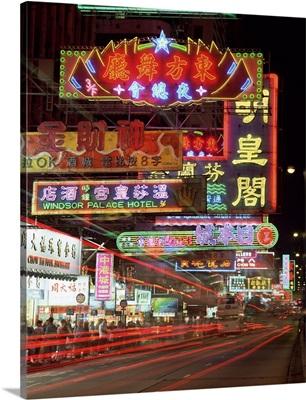 Neon lights at night on Nathan Road, Tsim Sha Tsui, Kowloon, Hong Kong, China
