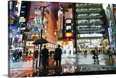 Neon lights on a rainy evening, Shinjuku, Tokyo, Honshu, Japan
