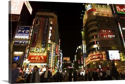 Night time city lights, Shinjuku, Tokyo, Honshu, Japan
