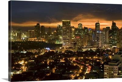 Night view of Makati, Metromanila, Philippines, Southeast Asia, Asia