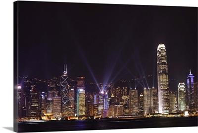 Nightly sound and light show over Hong Kong Island skyline, Hong Kong, China, Asia
