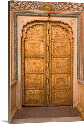 Ornate door at the peacock gate in the City Palace, Jaipur, Rajasthan, India