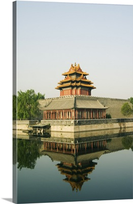 Palace Wall Tower in the moat of The Forbidden City Palace Museum, Beijing, China