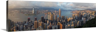 Panoramic view with the illuminated skyline of Central below The Peak, Hong Kong, China