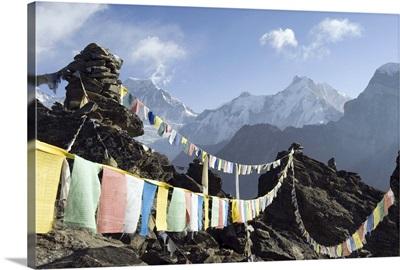 Prayer flags, Gokyo, Solu Khumbu Everest Region, Himalayas, Nepal