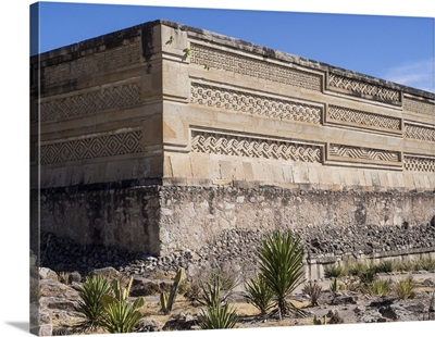 Pre-Columbian Mixtec and Zapotec ruins in the town of Mitla, State of Oaxaca, Mexico