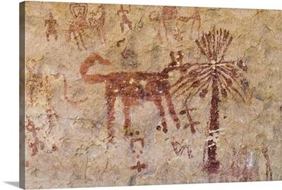 Prehistoric rock paintings, Wadi Teshuinat, Akakus, Sahara desert, Libya, Africa