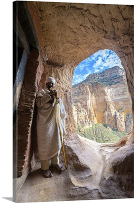 Priest Holding The Hand Cross, Abuna Yemata Guh Church, Gheralta Mountains, Ethiopia