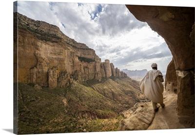Priest Walking On Trail To Abuna Yemata Guh Church, Gheralta Mountains, Ethiopia