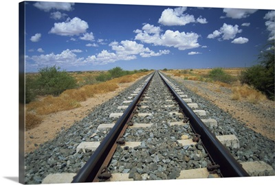 Railway tracks near Mariental, Namibia, Africa