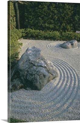 Raked stone garden, Taizo-In temple, Kyoto, Honshu, Japan, Asia