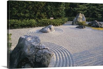 Raked stone garden, Taizo-In temple, Kyoto, Japan, Asia