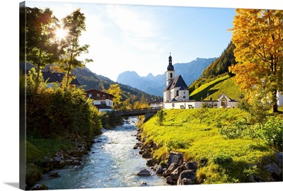 Ramsau Church in autumn, Ramsau, Bavaria, Germany