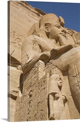 Ramses II Statue With Queen Nefertari Statue, Ramses II Temple, Abu Simbel, Nubia, Egypt