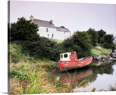 Red boat and house, Ballycrovane, County Cork, Munster, Republic of Ireland (Eire)