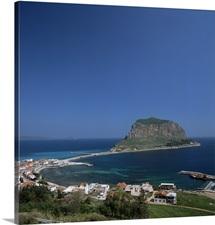 Rock known as the Gibraltar of Greece, Monemvasia, Greece, Europe