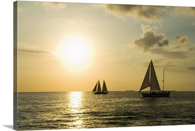 Sailboats at sunset, Key West, Florida