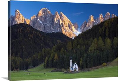 Saint Johann Church, near Saint Magdalena, Val di Funes, Trentino-Alto Adige, Italy