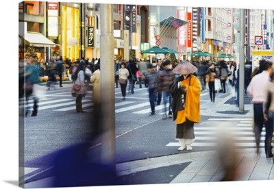 Shinto monk in traditional dress collecting alms, Ginza, Tokyo, Honshu, Japan