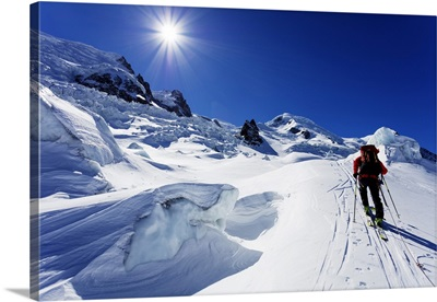 Ski Tourer On Mont Blanc, Chamonix, Rhone Alpes, Haute Savoie, French Alps, France