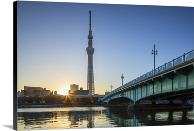 Skytree and Sumida River at dawn, Tokyo, Honshu, Japan, Asia