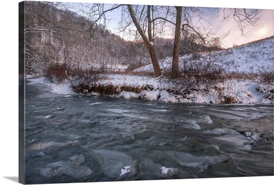 Snow Covered Landscape And Icy River Blue Ridge Mountains