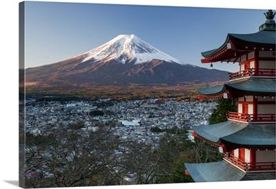 Snowy Mount Fuji And Chureito Pagoda At Arakura-Yama Sengen-Koen Park, Honshu, Japan