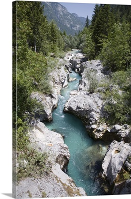 Soca River with clear emerald water  in Trenta Valley, Triglav National Park, Slovenia