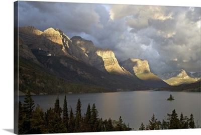 St. Mary Lake and Wild Goose Island on a cloudy morning, Glacier National Park, Montana