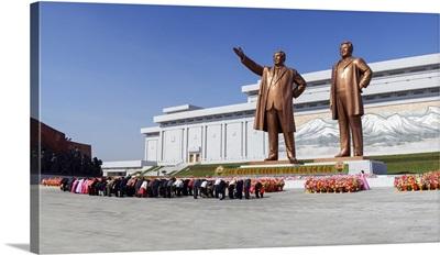 Statues of former Presidents Kim Il-Sung and Kim Jong Il, Pyongyang, North Korea
