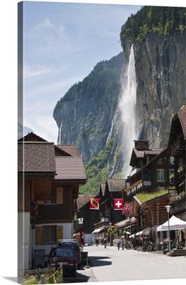 Staubbach Falls in Lauterbrunnen, Jungfrau Region, Switzerland, Europe