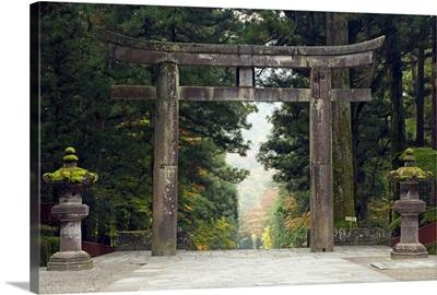Stone Torii, Tosho-gu Shrine, Nikko, Central Honshu (Chubu), Japan, Asia