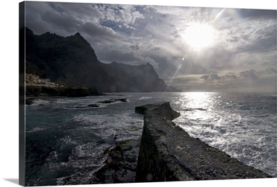 Stonewall at sunset on the coast of Santo Antao, Cape Verde, Africa