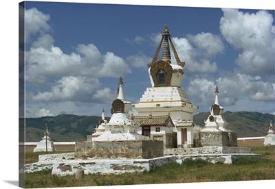 Stupas at the Erdeni Dzu Monastery at Karakorum, Mongolia, Central Asia, Asia