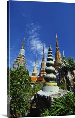 Stupas at the Temple of the Reclining Buddha, Bangkok, Thailand