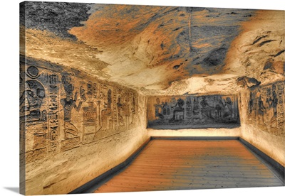 Sunken Relief, Lateral Chamber, Ramses II Temple, Abu Simbel, Nubia, Egypt, Africa