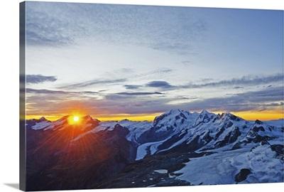 Sunrise view of Monte Rosa from The Matterhorn, Zermatt, Valais, Swiss Alps, Switzerland