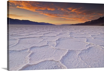Sunset At The Salt Pan Polygons, Badwater Basin, Death Valley National Park, California