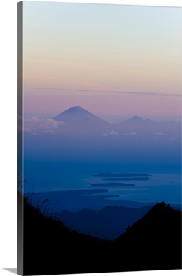 Sunset over Mount Agung and Mount Batur on Bali, Lombok, Indonesia