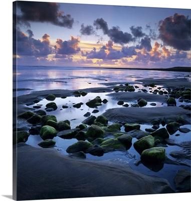 Sunset over rock pool, Strandhill, County Sligo, Connacht, Republic of Ireland