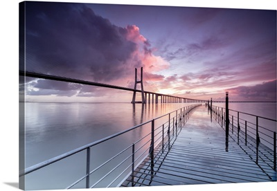 Tagus River And The Vasco Da Gama Bridge In Lisbon, Portugal