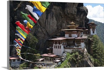 Taktshang Goemba with prayer flags and cliff, Paro Valley, Bhutan