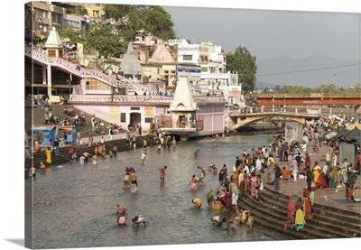 Temple at Har-ki-Pairi, on bank of River Ganges, Haridwar, Uttarakhand, India
